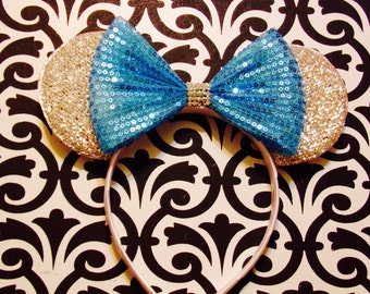 Minnie Mouse Silver Sparkle Frozen Blue Sequin Bow Tie inspired Headband Ears