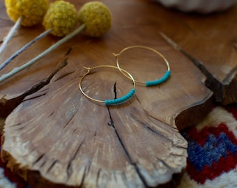 Turquoise seed bead gold hoops