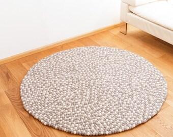 Felt carpet round felt balls nature white grey 140 cm