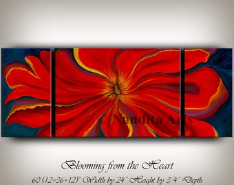 Flower Painting Oil Landscape Painting, Original Flower Modern Art Impasto Contemporary Art, Red Painting on Canvas Wall Art Decor