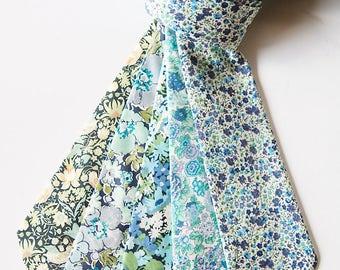 Green Liberty of London Tie, green skinny tie, blue and green tie, green floral tie, custom tie, mint green tie, teal tie, mint necktie