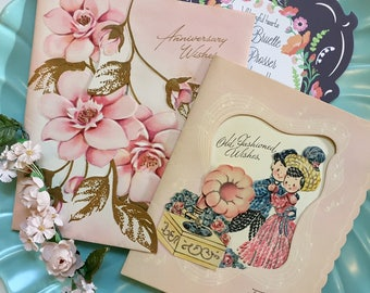 Vintage Anniversary Greeting Cards, Midcentury Anniversary Cards, 1940s pop-up cards