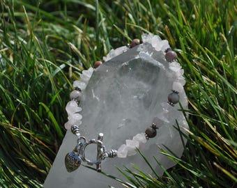 Rhodonite and Rose Quarts Bracelet