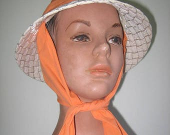 1950's Straw SUN Hat with Scarf Ties / Assorted Sizes and Colors Available!