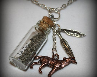 Twilight Saga Inspired La Push Sand Jacob Glass Bottle Charm Necklace
