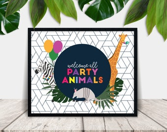 Party Animals Printable Welcome Sign