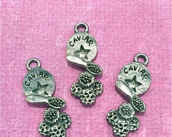 Caviar Charms- 4 pieces-(Antique Pewter Silver Finish)