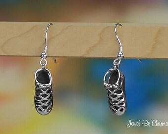 Sterling Silver Irish Dancing Shoe Earrings Pierced Fishhook Solid 925