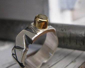 SALE Size 10-3/4 Mens Wedding Band Mens Wedding Ring Diamond Cube Rough Diamond Rustic Handmade Wedding Ring Artisan Ring Raw Diamond