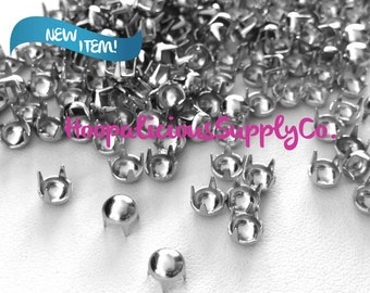 50pc - TINY 4mm Silver Prong Studs. Use w/Leather,Shoes,Shirts. Customize ur clothing. FAST Shipping from USA w/ Tracking 4 Domestic Orders.
