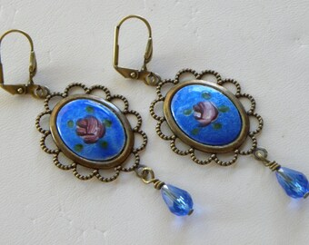 Blue Guilloche Earrings, Large Guilloche Sapphire Blue Shabby Chic Vintage Guilloche Earrings, 1940's Hand Made Vintage Earrings, Blue Cameo