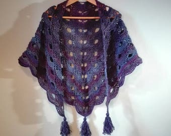 large triangle crochet shawl, crochet wrap, purple blue crochet shawl, crochet shawl for the winter