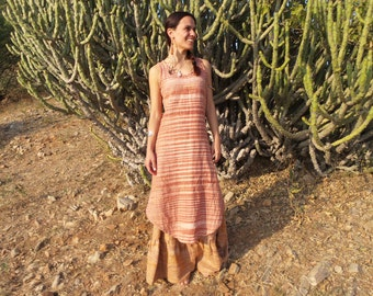 Khadi Dress, Long Dress Khadi, Dress made of Khadi, handwoven Cotton Dress, Hippie Dress, Indian dress, Festival Dress, Summer Dress