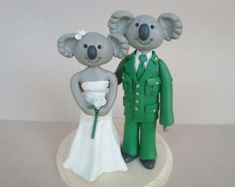Custom Handmade Koala Bear Wedding Cake Topper