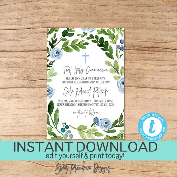 First communion invitation editable 1st holy communion party solutioingenieria Image collections