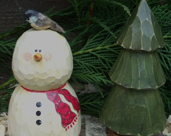 Hand Carved Snowman with Carved Tree