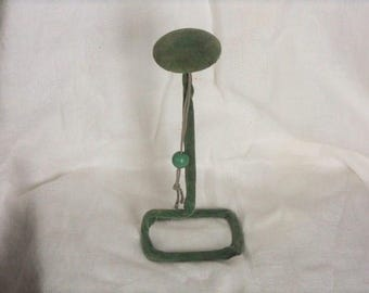Vintage Green Velvet Over Wire Hat Stand