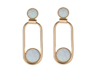 Bridal Opal Earrings, Long Gold Earrings, White Opal Earrings, Drop Dangle Earrings, Wedding Earrings, Gold Evening Earrings, Bridal jewelry