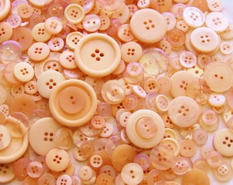 50 Coral Colored Buttons, Melon, Assorted Buttons, Sewing, Crafting  Jewelry (1481)