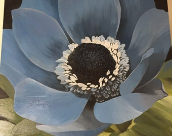 Feelin Blue, 36x36 blue anemone original oil painting, large floral art, blue poppy art