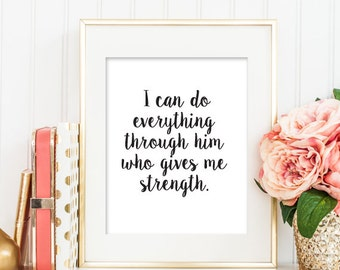 Christian PRINTABLE ART, I can do everything Bible Verse Art Print, Nursery Printable, Christian Printable, Home Decor Art, Scripture Art143