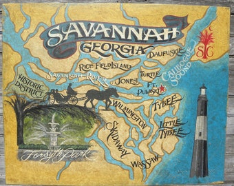 Savannah Georgia Map. Beaches  Attractions. Great Beach Decor with Lighthouse & biplane art with popular pts Great Restaurant or Bar decor.