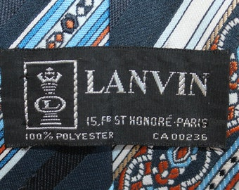 Vintage 1970s Mens Tie - Lanvin  / Paris / Black / Blue