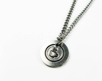 Coffee Cup Pendant for Caffeine Lover - Simple Tea or Coffee Mug Necklace on Steel Chain