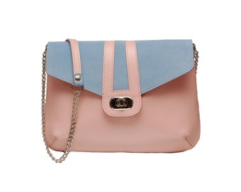 Crossbody women genuine leather women bag summer winter spring pink blue beige red purple purse