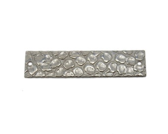 Stamping Bar - Oxidized Sterling Silver Double Bail Bar with Hammered Circle Accent (S114B2-01)