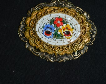 oval cameo Italian mosaic piece recycled filigree frame 24 in chain necklace red blue yellow green glass