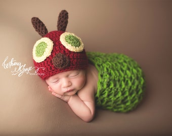 Caterpillar Cocoon and Hat | Newborn Photo Prop Costume | Spring Photography Props | Caterpillar Costume | Newborn Caterpillar | Animal Hat