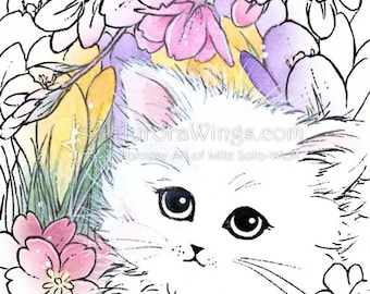 Digital Stamp - Insant Download - Cat with Spring Flowers - digistamp - Fantasy Line Art for Cards & Crafts by Mitzi Sato-Wiuff
