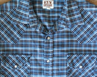 Vintage 70's Western Shirt | Ely Cattleman | Pearl Snaps | Size Large