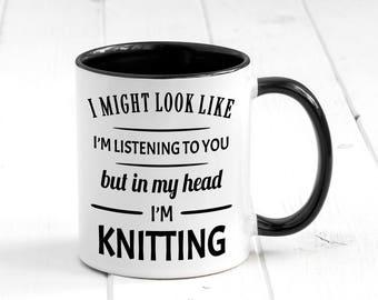 In My Head I'm Knitting Mug, Funny Coffee Mug, Knitting Mugs, Knitting Gift