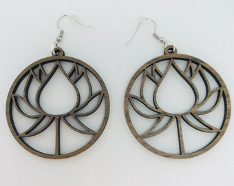 Delicate Walnut Minimalist Lotus Laser Cut Earrings and Necklace Jewelry Set V2.0