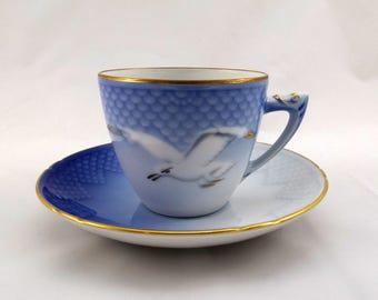 Royal Copenhagen Coffee Cup Set, Seagull, Måsen, Vintage Danish Fajance Tableware, Danish Modern, Scandinavian Design, Denmark
