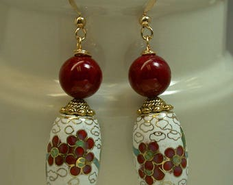 Vintage Chinese Cloisonne White Dangle Drop RARE Barrel Bead Earrings Red Flowers Barrel Shape, Vintage Red Chalcedony,Gold Ear Wires