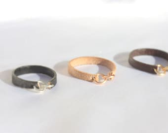 Best friend rings  -  leather ring - sister ring -  rose gold ring - sister gift - friendship ring - friend forever - sister infinity ring