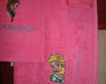 Frozen Elsa, Anna & Olaf Bath, Hand Towel  washcloth PersonalizedTowel Set.. Frozen Anna, Olaf and Elsa