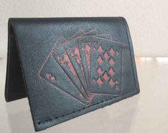 vintage black leather made in usa wallet with red embossed playing cards