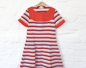Vintage NOS 60s Red Striped Pop Mod Dress French Made 8-10 Y