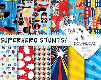 superhero paper pack superhero digital paper superheroes paper pack superhero papers boy girl superheroes birthday superhero paper scrapbook