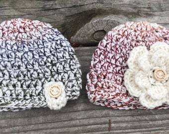 Twin baby hats,  Crochet Beanie, Infant Hats, Newborn Hats, Photo Props
