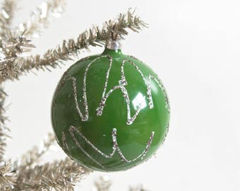 Vintage West Germany Green Christmas Ornament with Mica Glitter