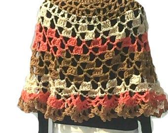 Crochet Poncho Cheesecake Crochet Poncho Round Shawl Handmade Crochet Pullover Poncho Capelet Coverup