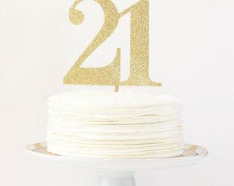 Happy Birthday Cake Topper by Meri Meri Gold Glitter Cake Topper