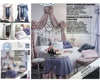 Vintage McCall's Home Decorating Pattern 808 Window Treatments Wall Canopy Pattern Pillow Cover Pattern Table Skirt Pattern DIY Home Decor