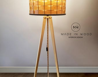 Floor lamp from wood. Tripod style. Warm and natural light. Different shade available. Possible to order as pendant lamp.