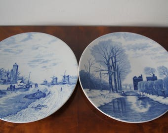 Antique Delft hand painted signed blue white wall plates Wall decor